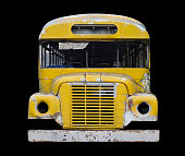 Front View: Old Fashioned  Yellow School Bus