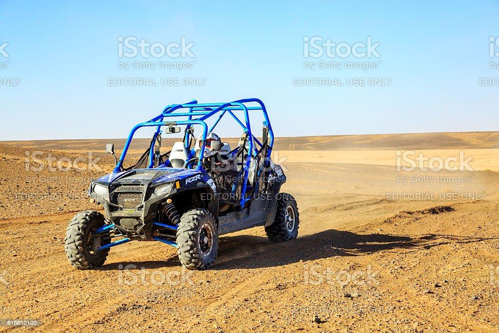 Front view on blue Polaris RZR stock photo