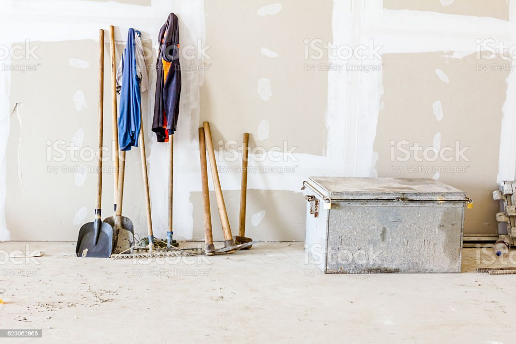Front view on tools for manually ground work stock photo