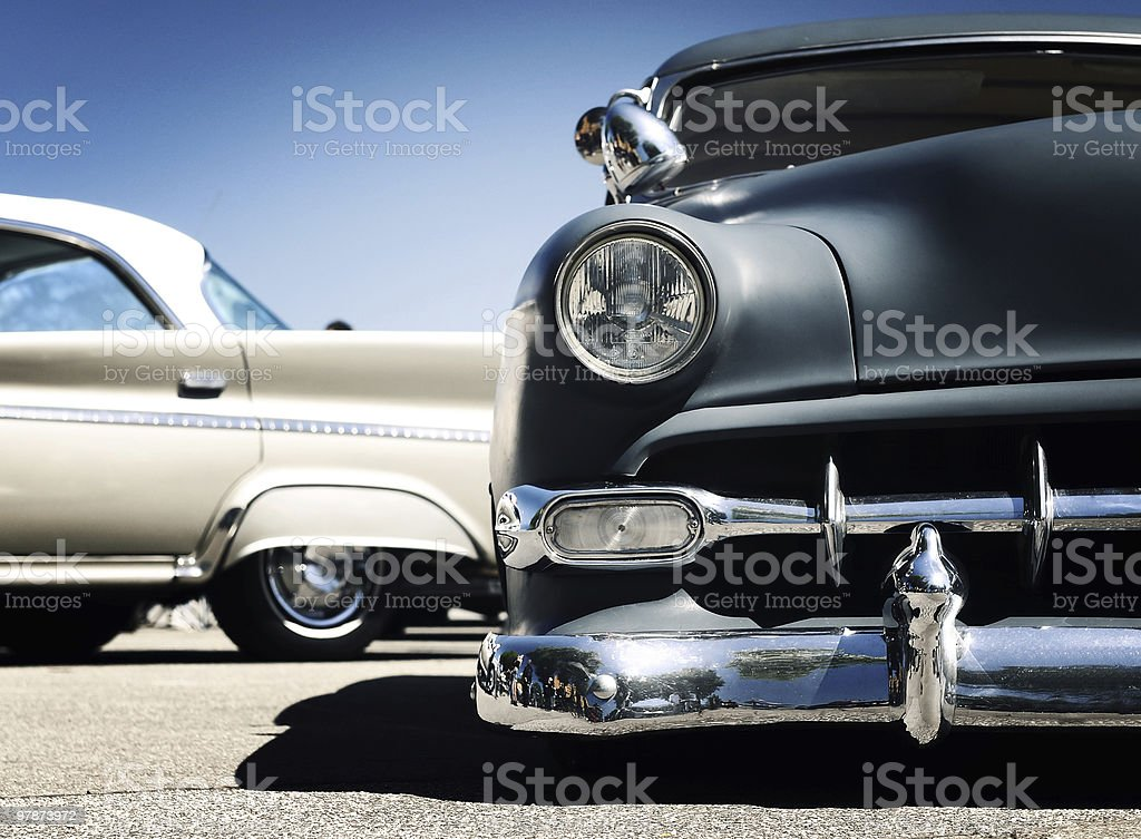 Front view Retro car - American classics royalty-free stock photo