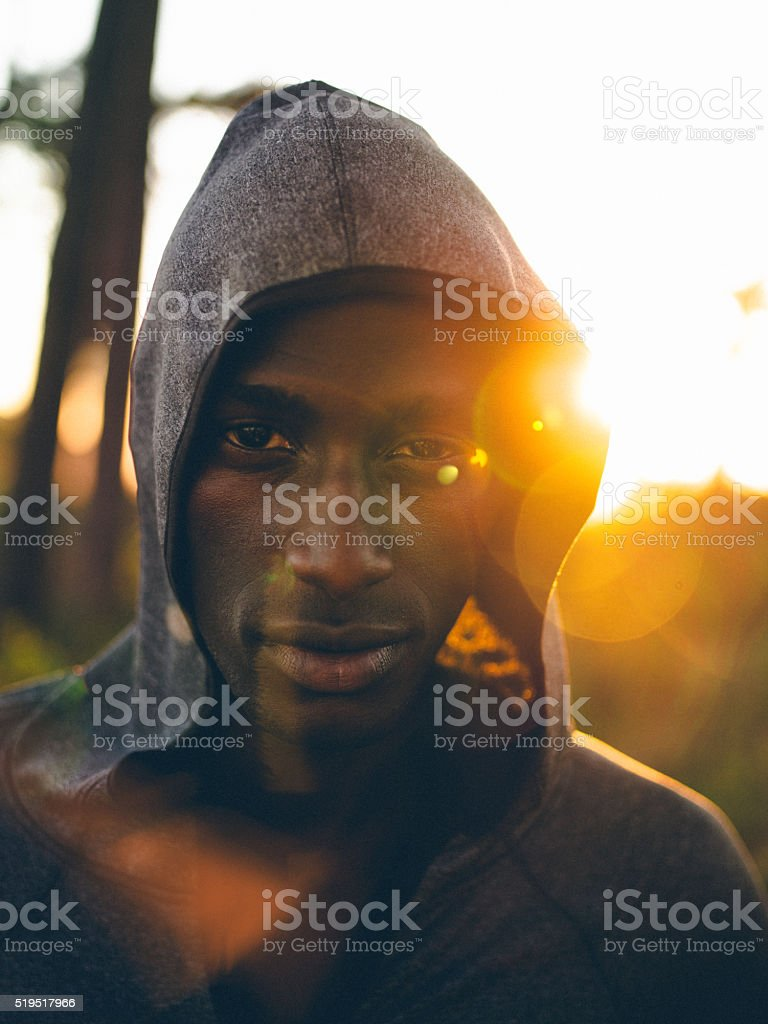 Front view shot of focused afro-american athlete stock photo