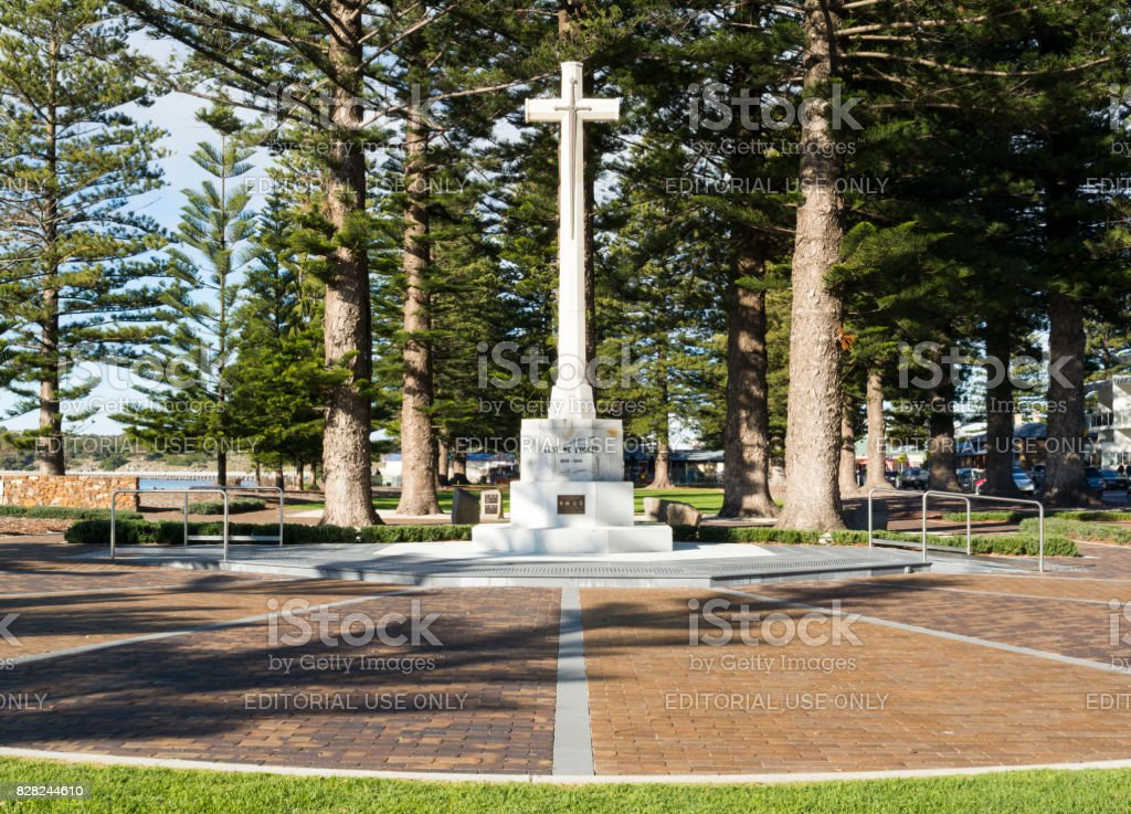 Front View Soldiers War Memorial Cross, Victor Harbor, South Australia stock photo