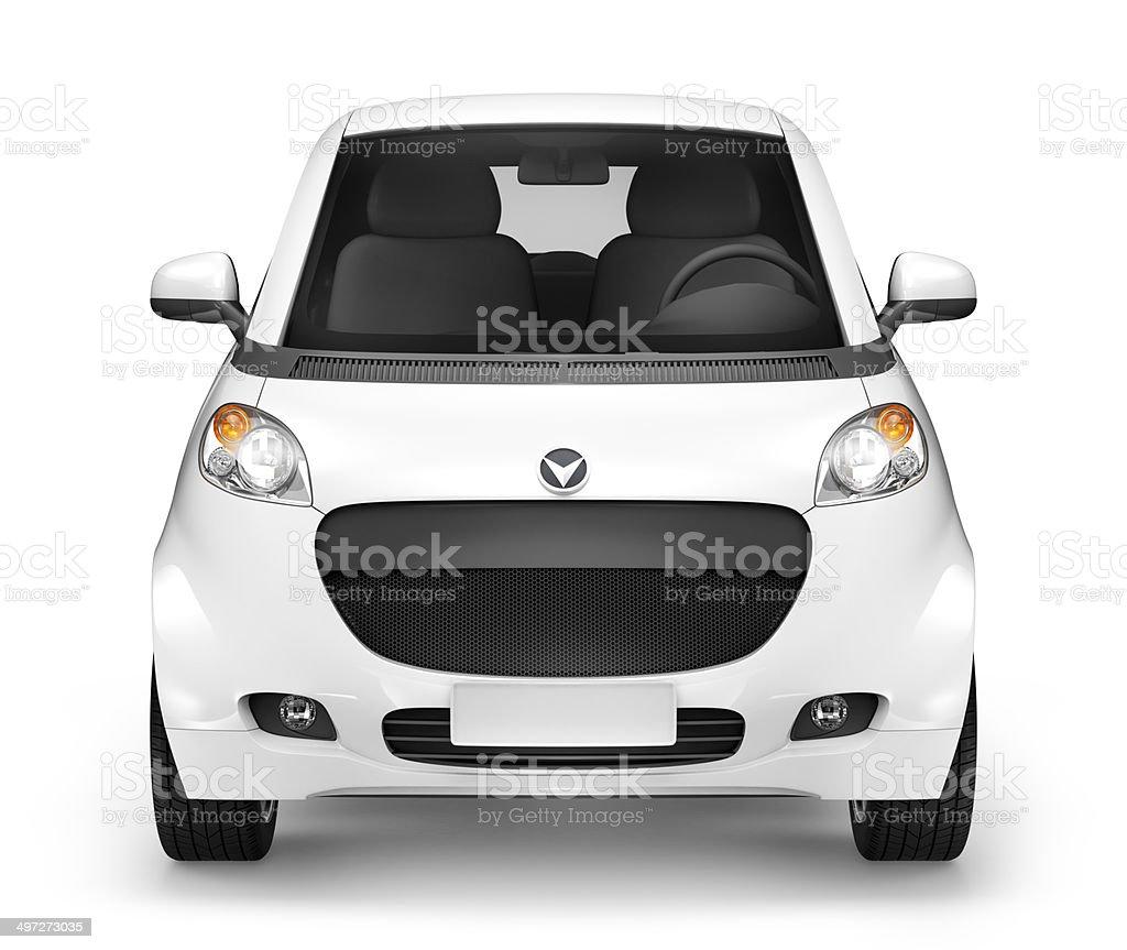 Front View Studio Shot Of Three-Dimensional White Sedan stock photo