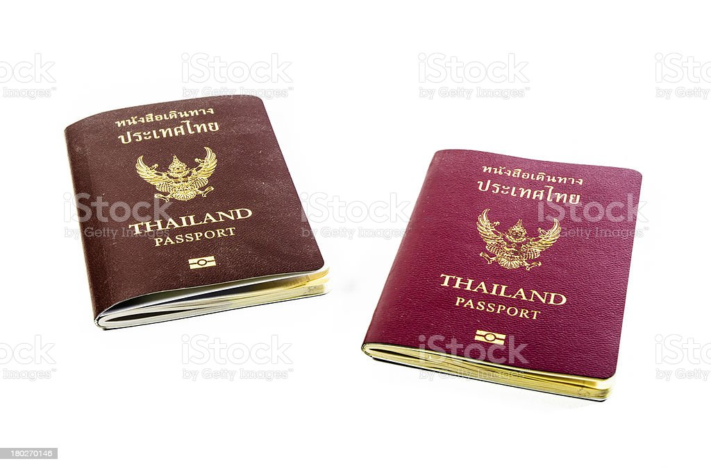 front view two old passport book of thailand royalty-free stock photo