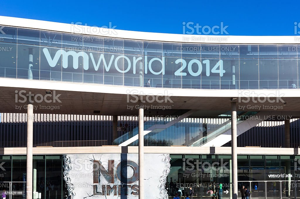 Front view VMWORLD 2014 exhibition center in Barcelona, Spain stock photo