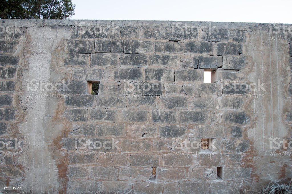 Front wall. Border wall in detail stock photo