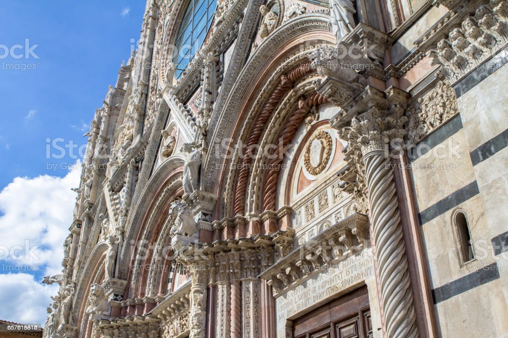 Front wall of the Siena Cathedral, Tuscany, Italy stock photo