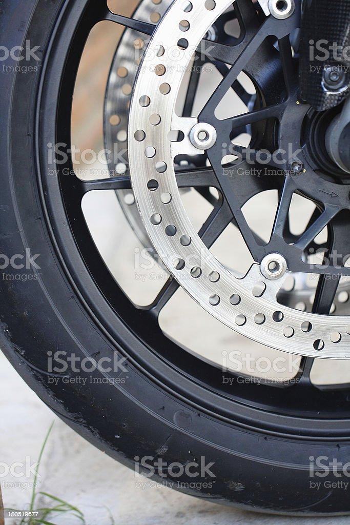 Front wheel brake. Big motorcycle royalty-free stock photo