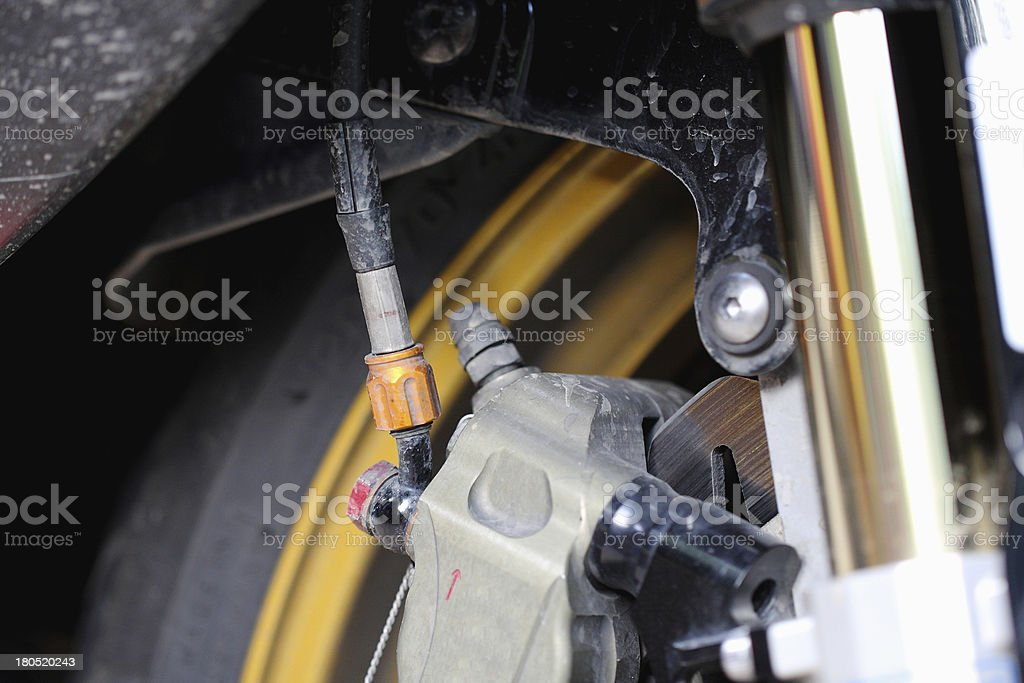 Front wheel brake. Big motorcycle royalty-free stock photo