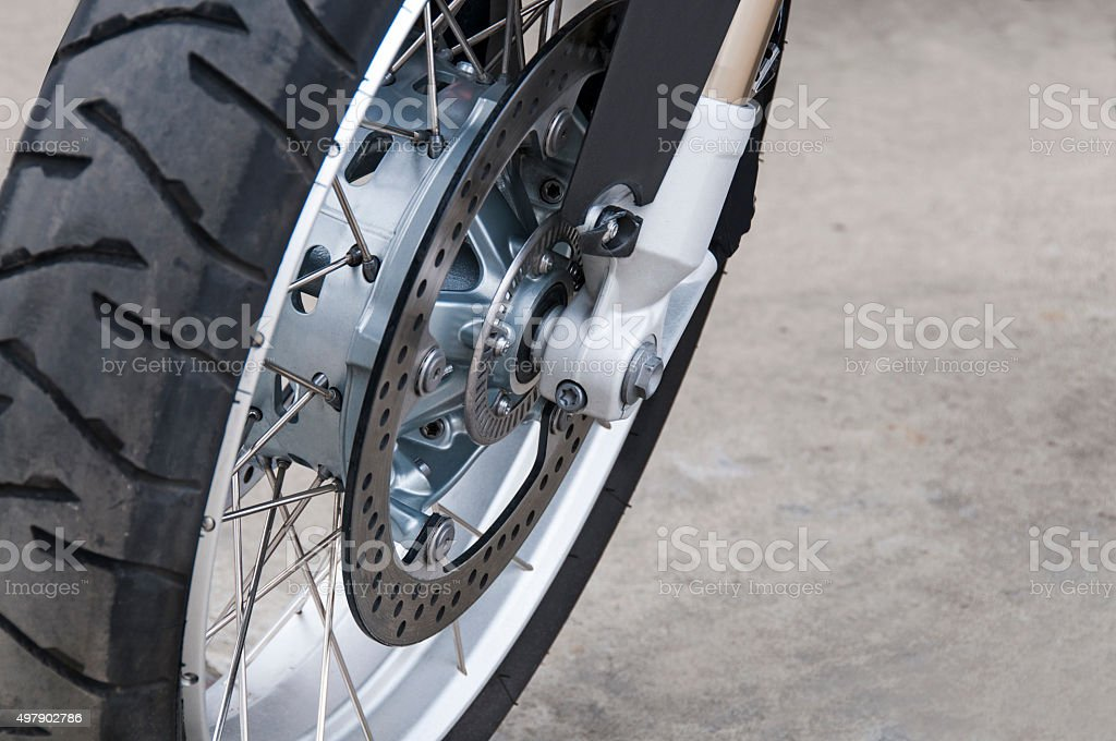 Front wheel of motorcycle stock photo