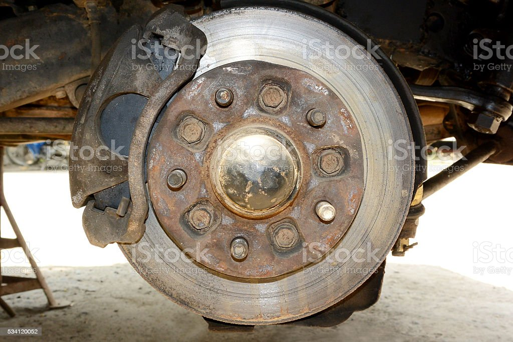 Front wheel suspension, car maintenance. stock photo