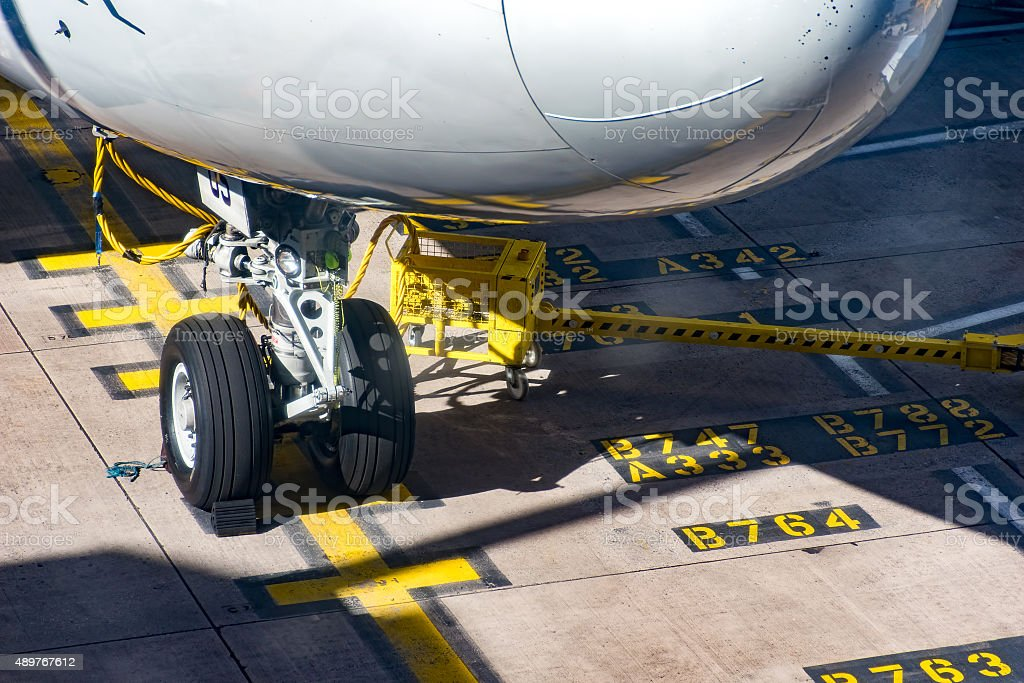 Front Wheels Boeing 747 on stand stock photo