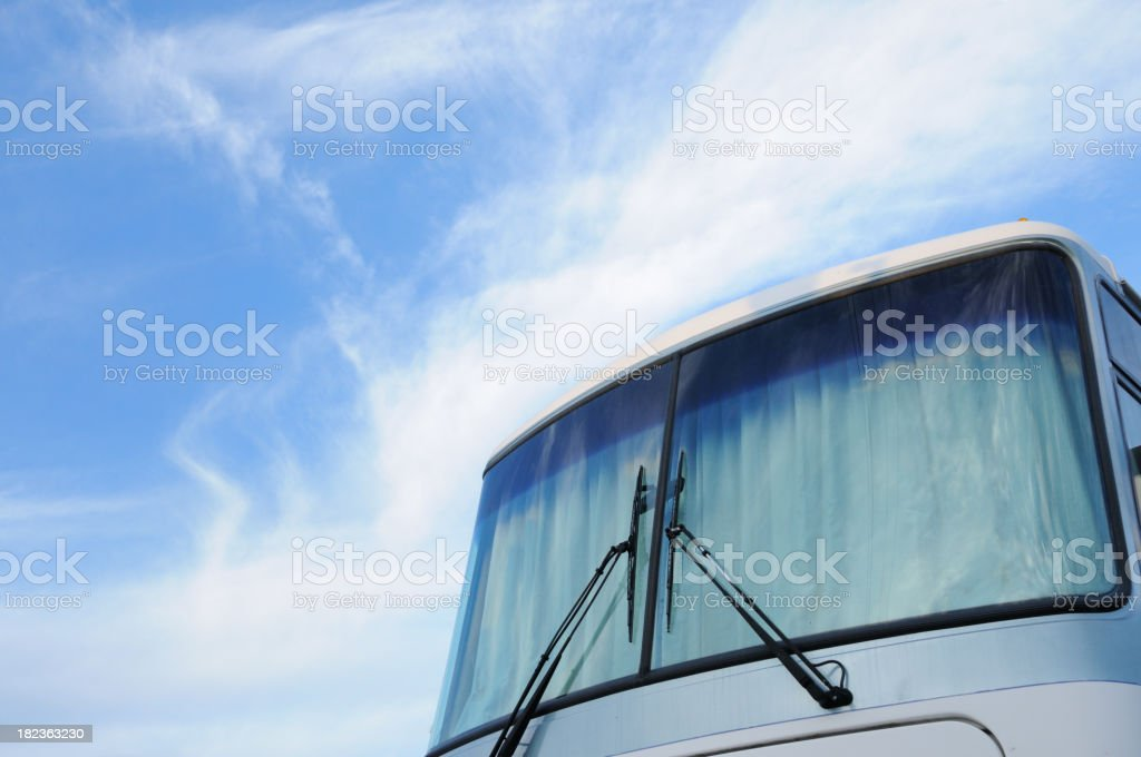 Front windshield of motorhome with copy space royalty-free stock photo