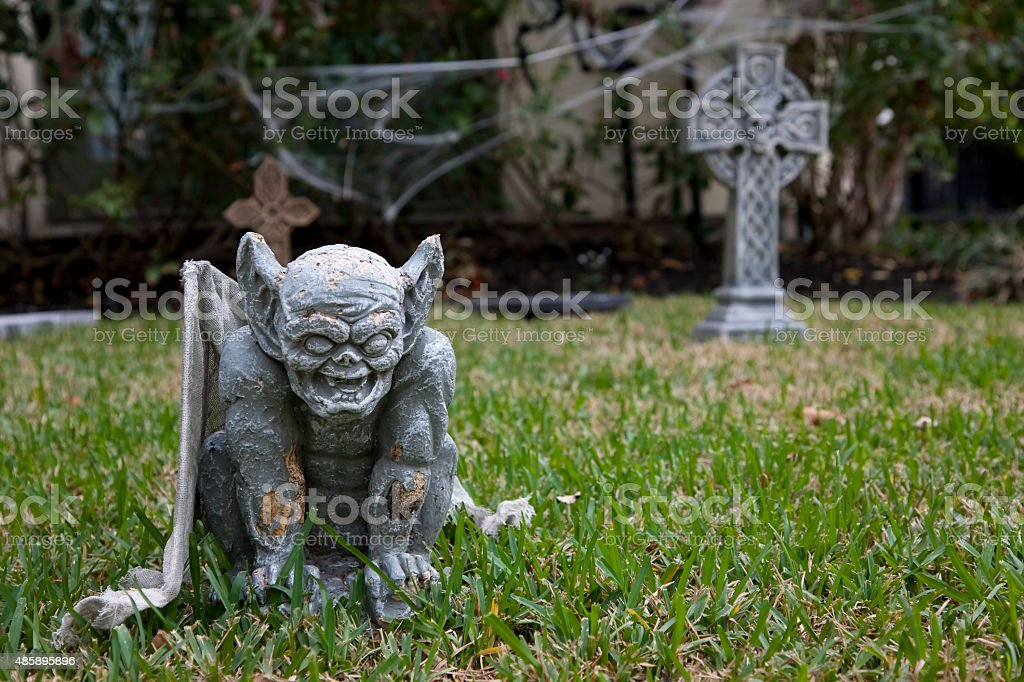 Front yard decorated for Halloween stock photo