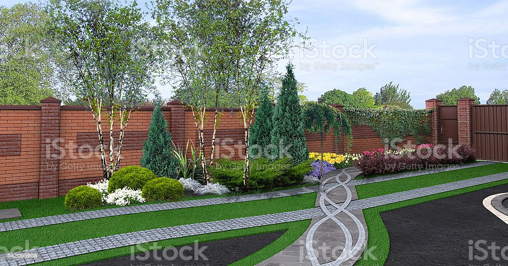 Front yard horticultural background, 3d render stock photo