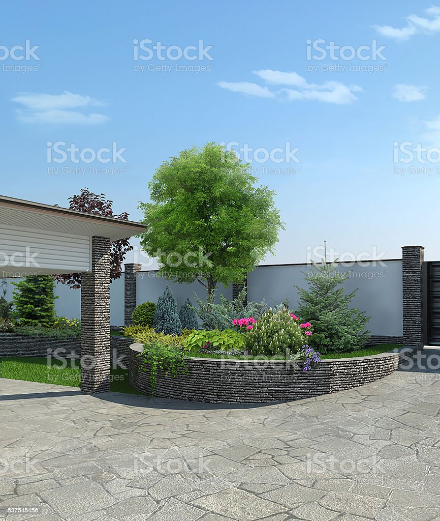 Front yard landscaping, 3d render stock photo