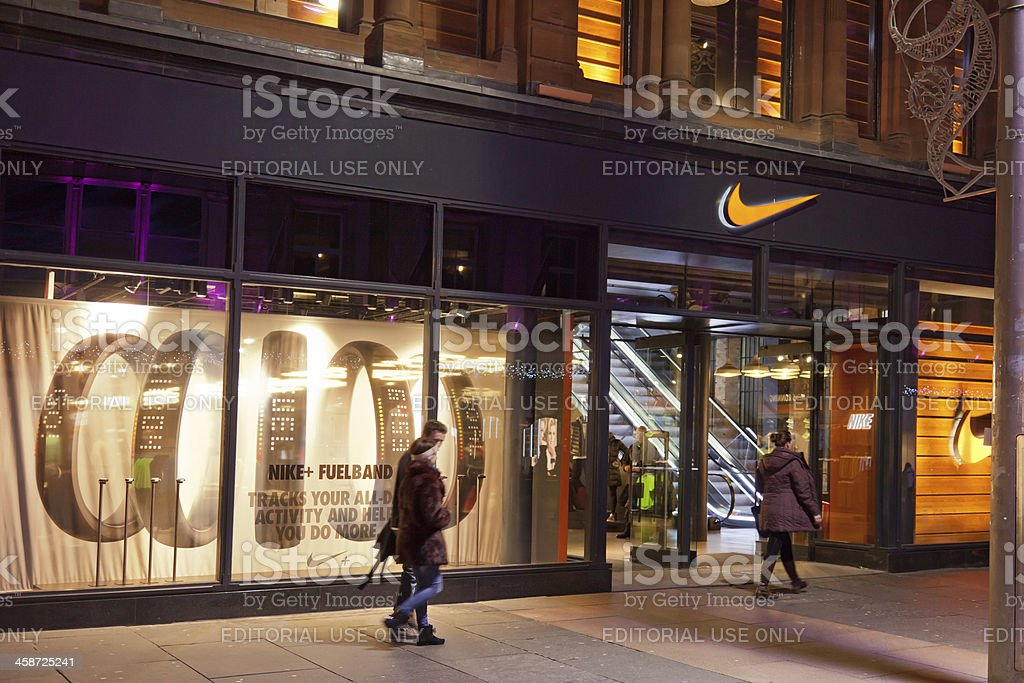 Frontage and window display; Nike shop in central Glasgow royalty-free stock photo