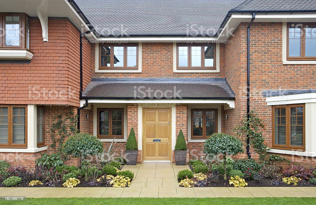 frontage of a modern expensive new house royalty-free stock photo