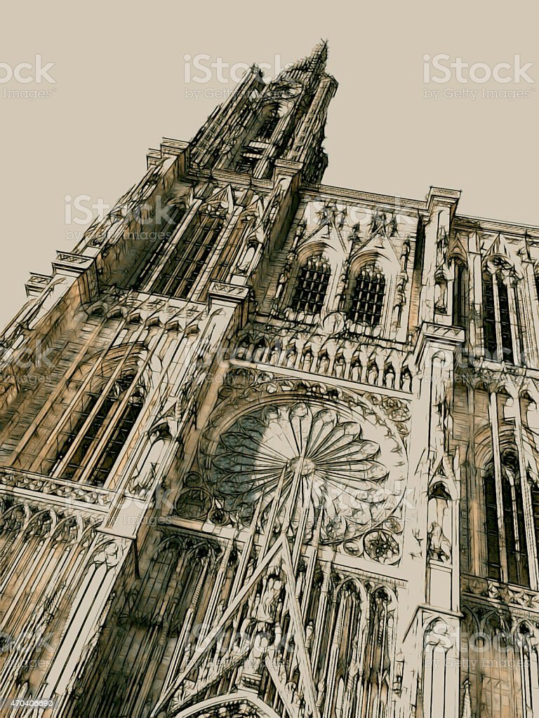 frontage of the Cathedral in Strasbourg (Alsace, France) stock photo