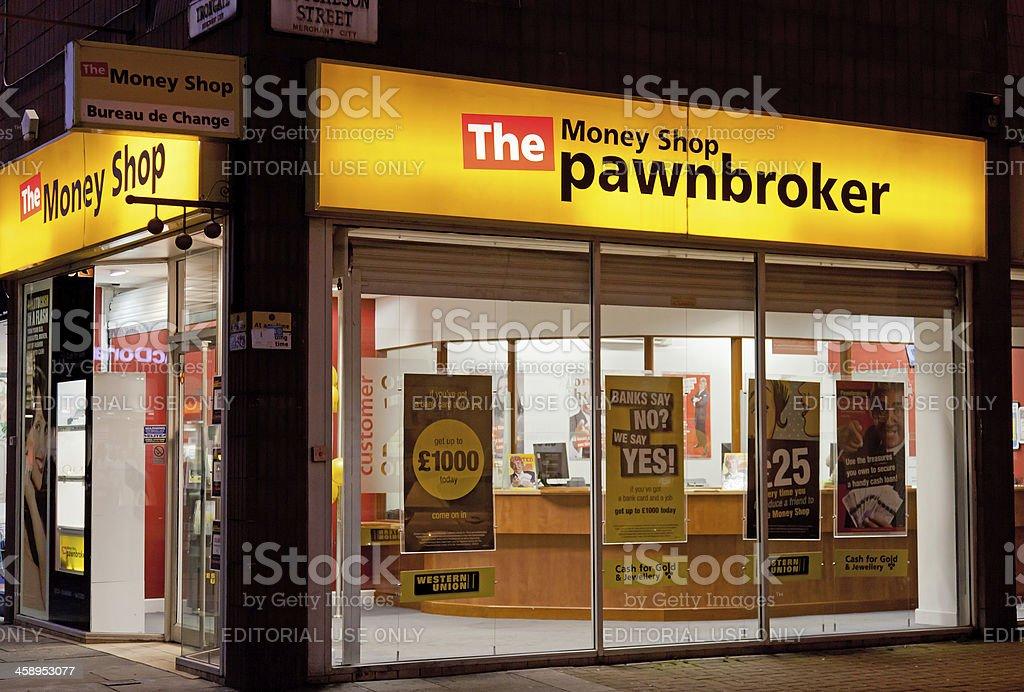 Frontage of The MoneyShop Pawnbroker, Glasgow, Scotland stock photo