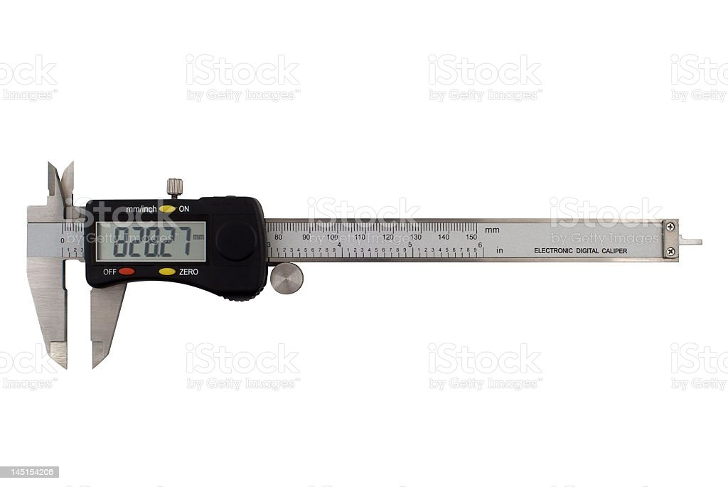 Frontal image of electronic digital caliper stock photo