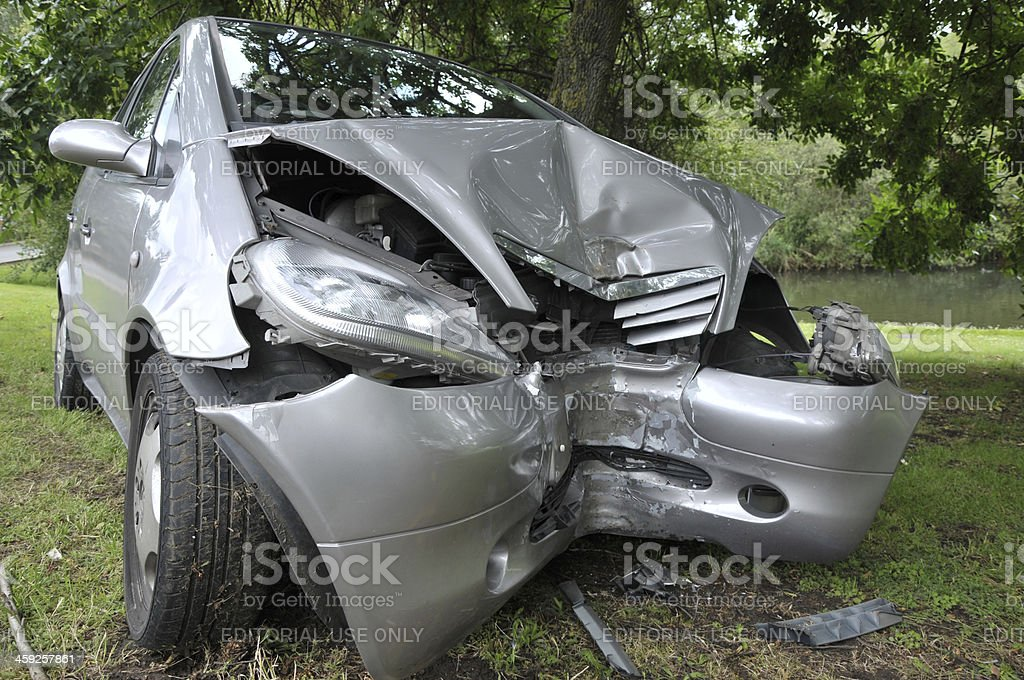 Frontal Impact Car Accident royalty-free stock photo