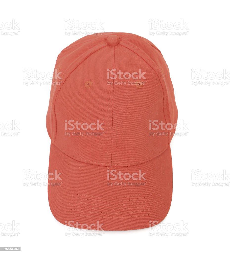frontal red  baseball cap stock photo