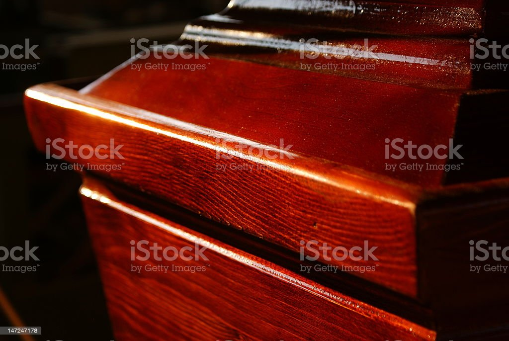 Frontal red casket stock photo