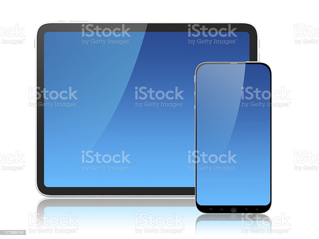 Frontal screens of tablet and mobile royalty-free stock photo