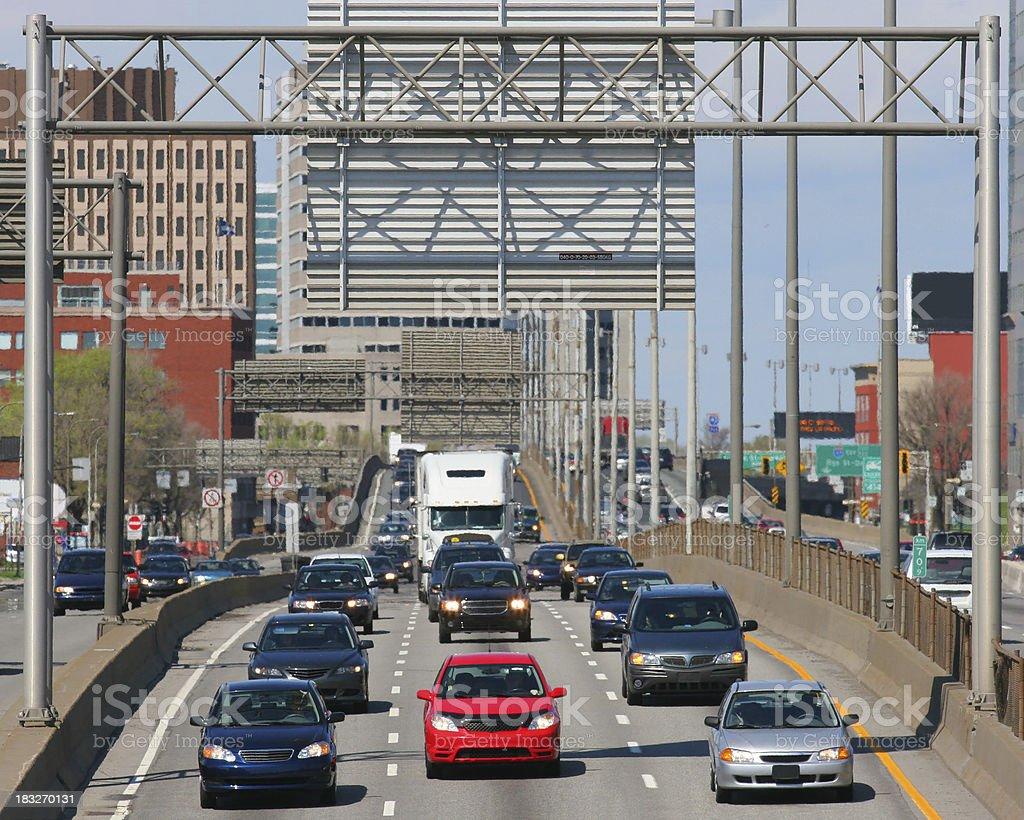 Frontal Urban Highway Traffic royalty-free stock photo