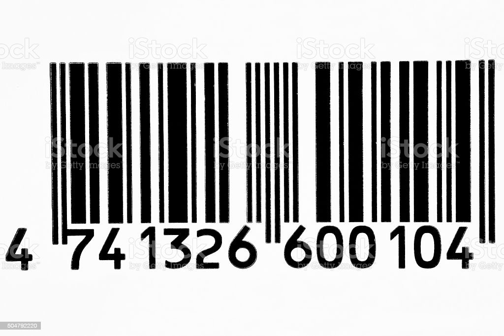 Frontal view black barcode in white background stock photo