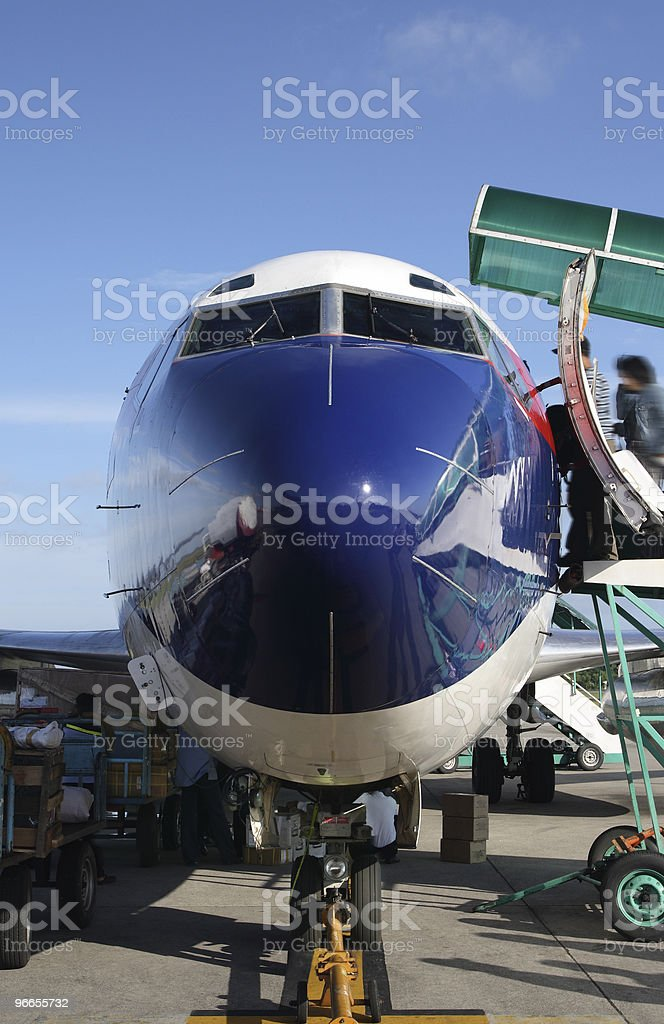 Frontal view of a boeing royalty-free stock photo