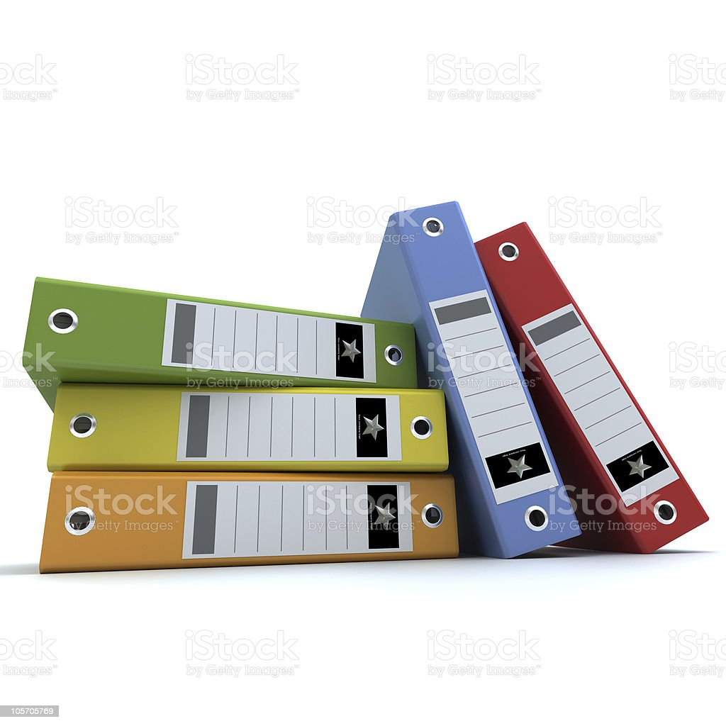 Frontal view of Color folders royalty-free stock photo