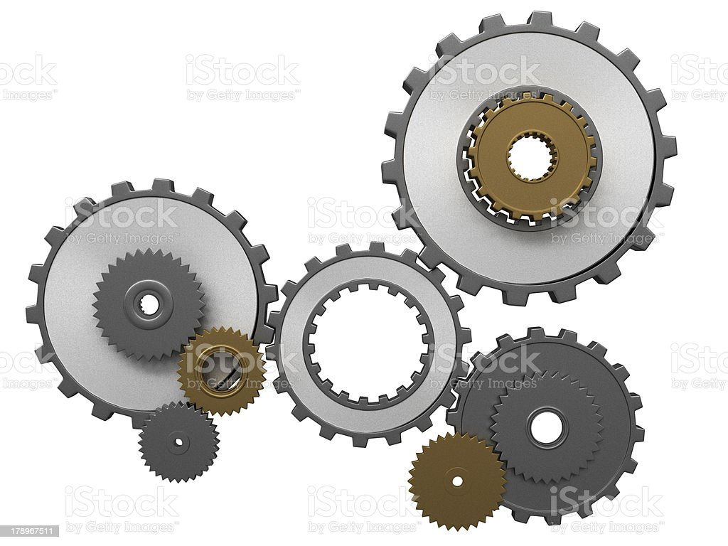 frontal view of gears composition royalty-free stock photo