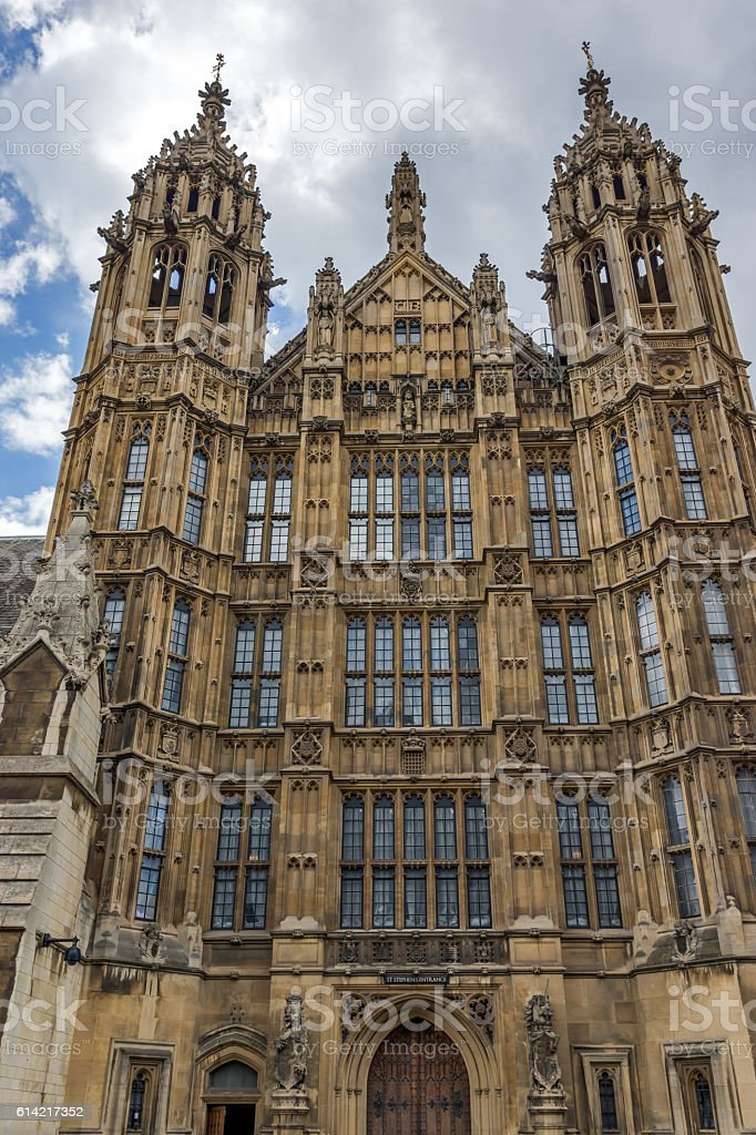 Frontal view of Houses of Parliament, Palace of Westminster,  London stock photo
