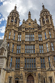 Frontal view of Houses of Parliament, Palace of Westminster,  London