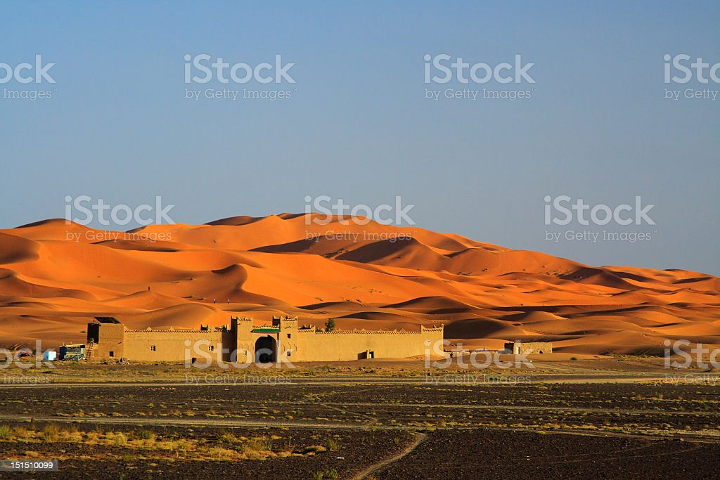 A frontal view of the edge of the Sahara Desert stock photo