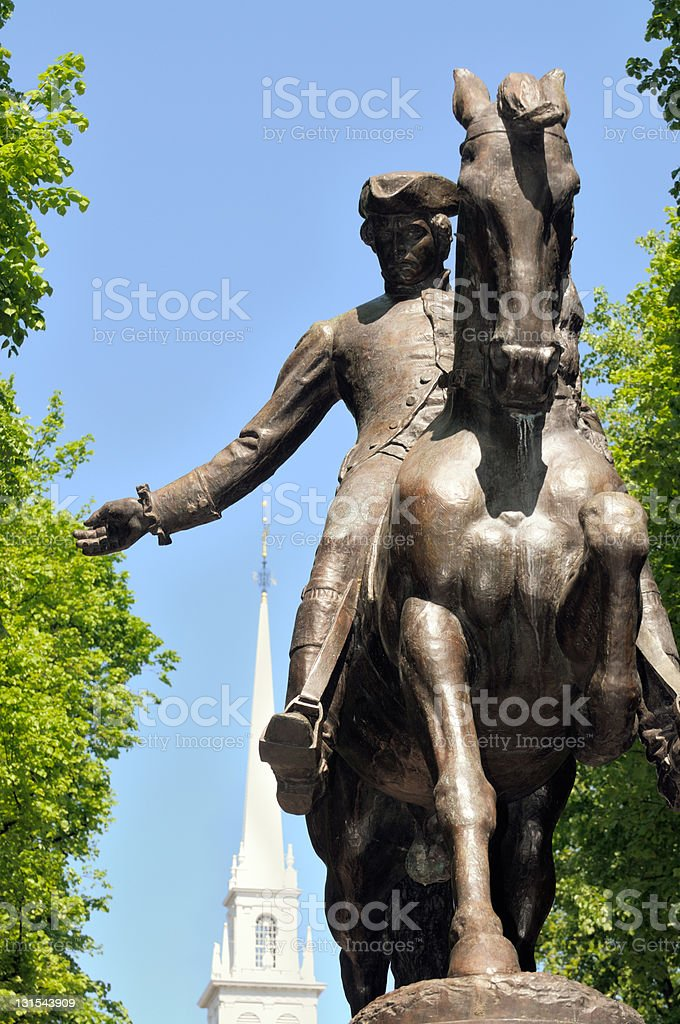 Frontal view of the Paul Revere statue stock photo