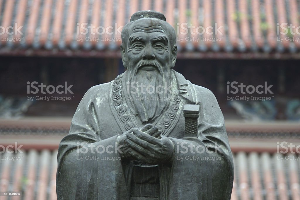 A frontal view of the statue depicting Confucius stock photo