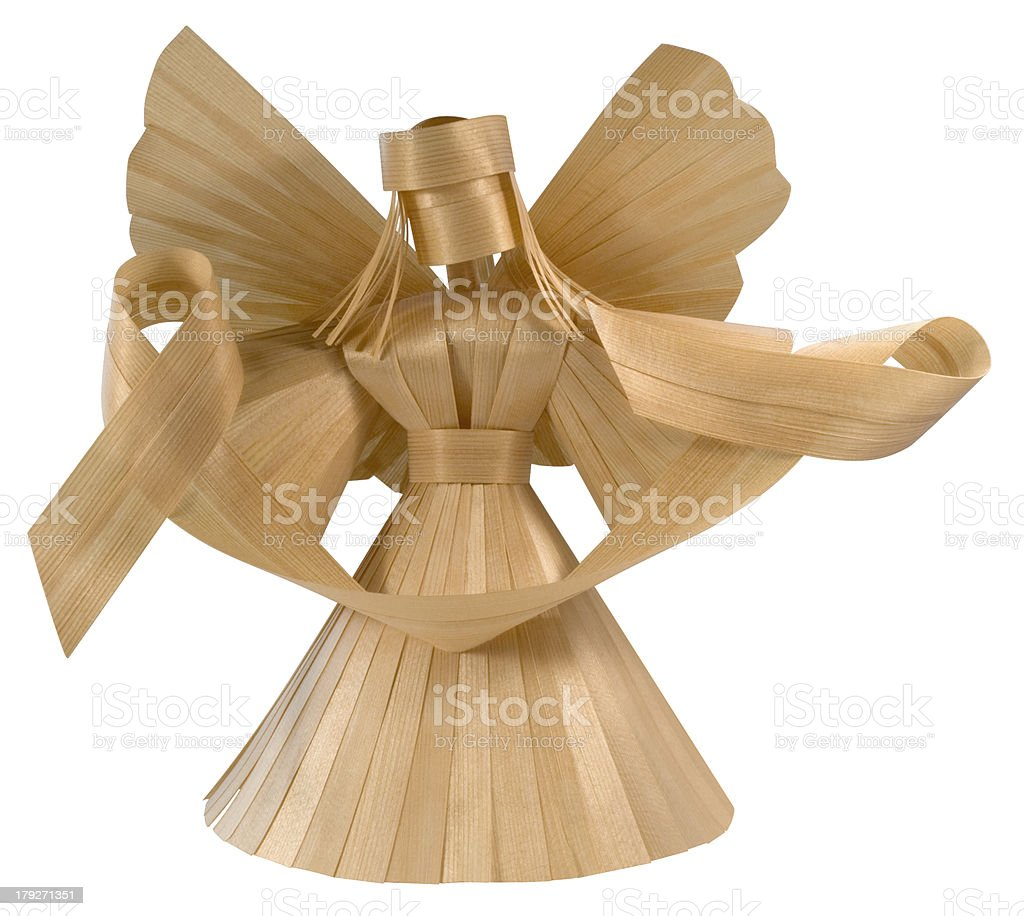 frontal wooden angel royalty-free stock photo