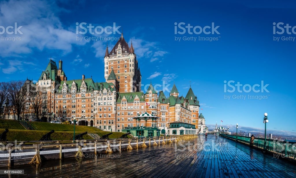 Frontenac Castle and Dufferin Terrace - Quebec City, Quebec, Canada stock photo