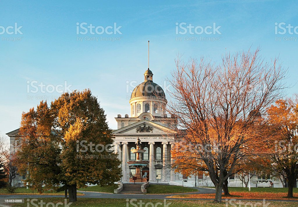 Frontenac County Court House Wide Angle in the Fall royalty-free stock photo