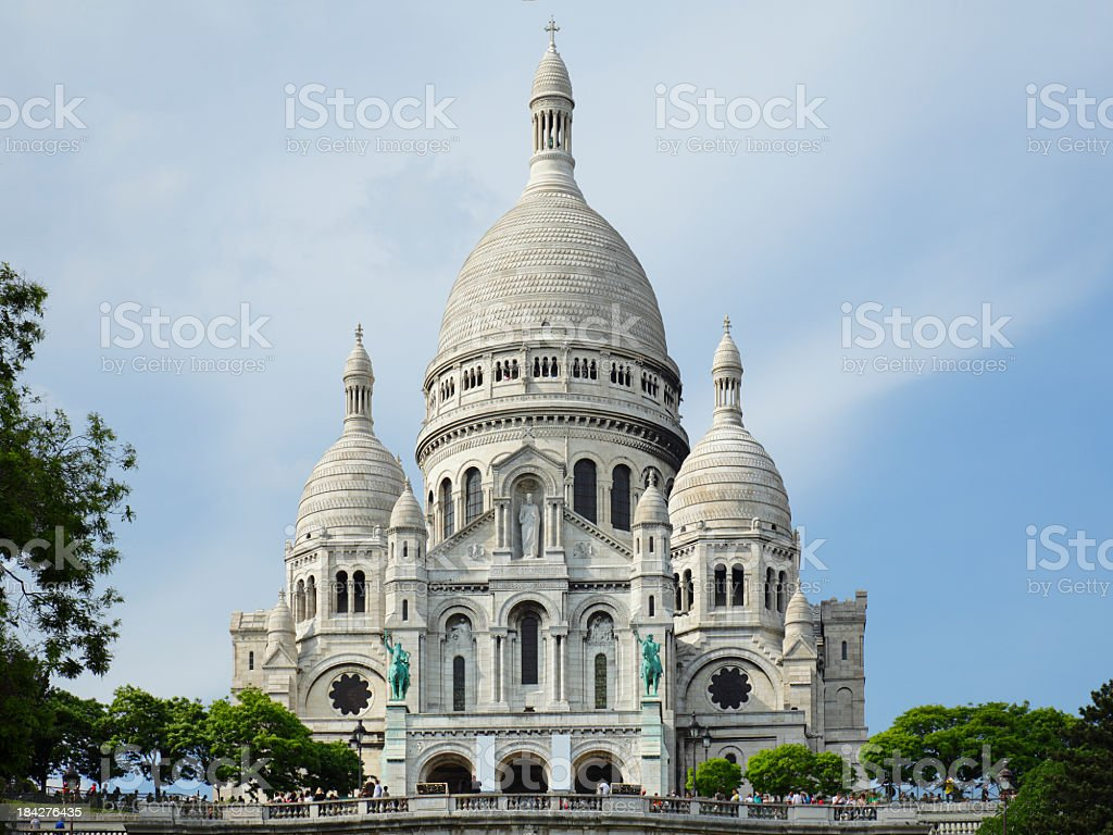 A front-facing view of the very pristine Sacre Coeur stock photo