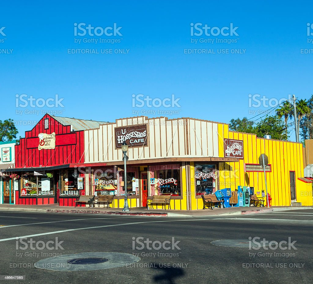 Frontier Street in afternoon sun in Wickenburg stock photo