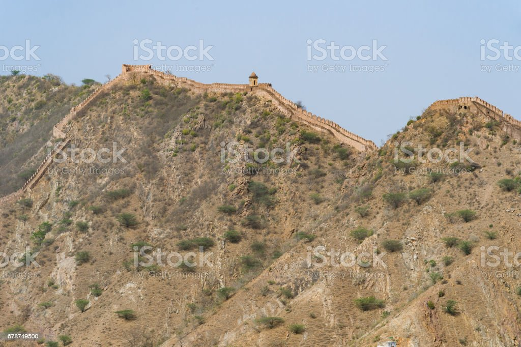 Frontier wall at Amber Fort Jaipur, Rajasthan, India. stock photo
