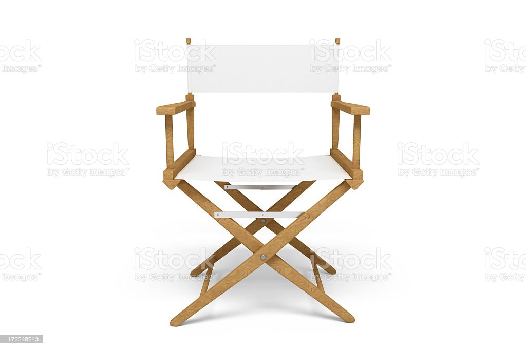 Frontside of a Director's Chair - Wooden / White (Isolated) royalty-free stock photo