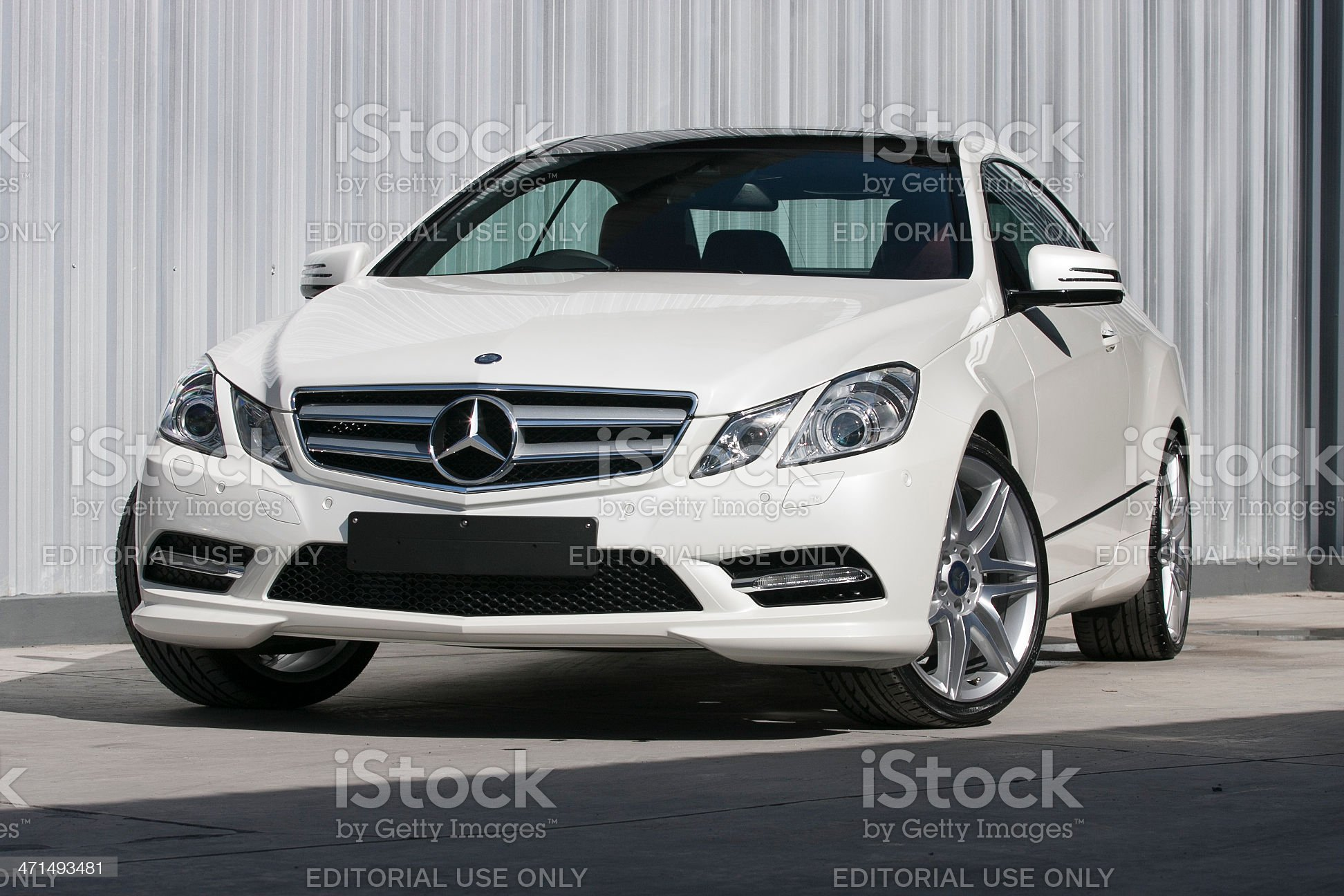 Frontview of a Mercedes-Benz E 200 coupe royalty-free stock photo