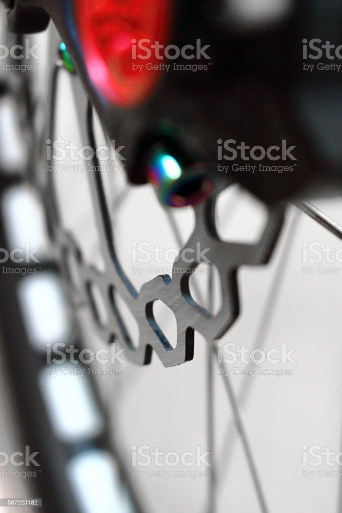 Front-wheel hydraulic disc brake of mountain bike stock photo
