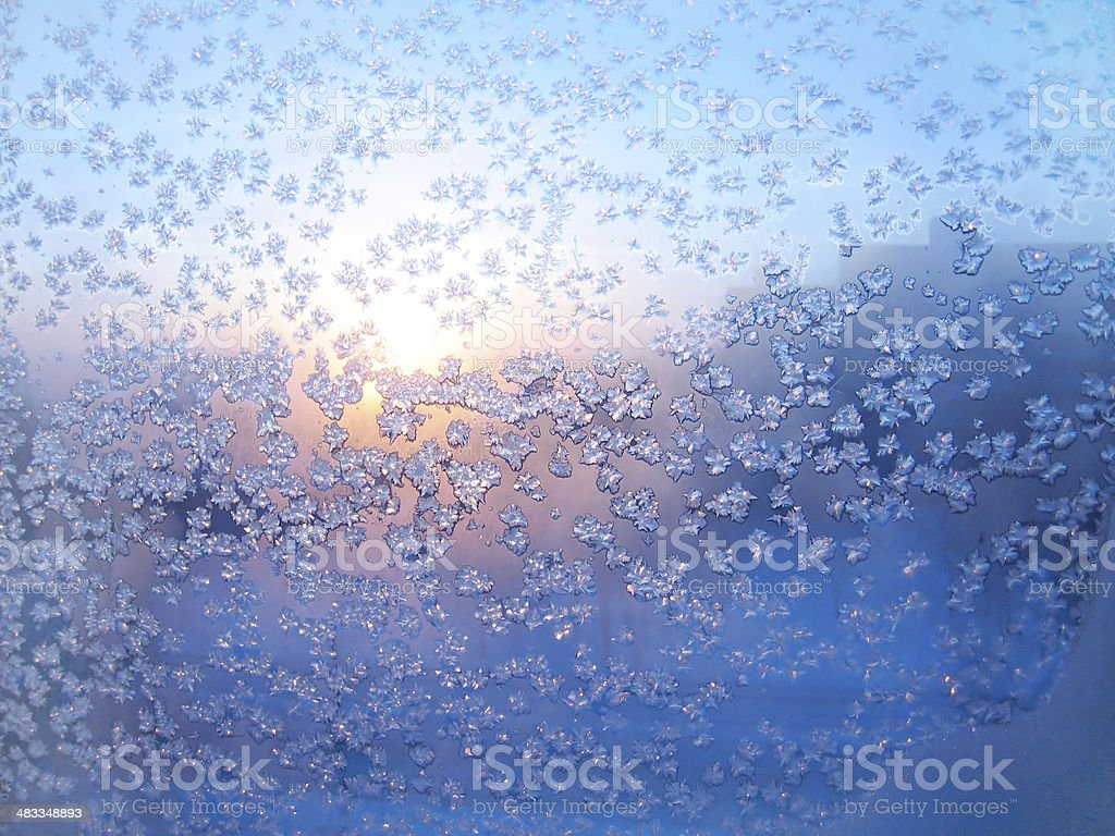 Frost and sun stock photo