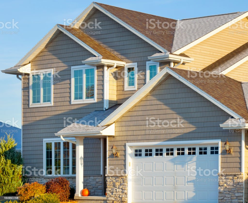 Frost Covered Two Story House stock photo